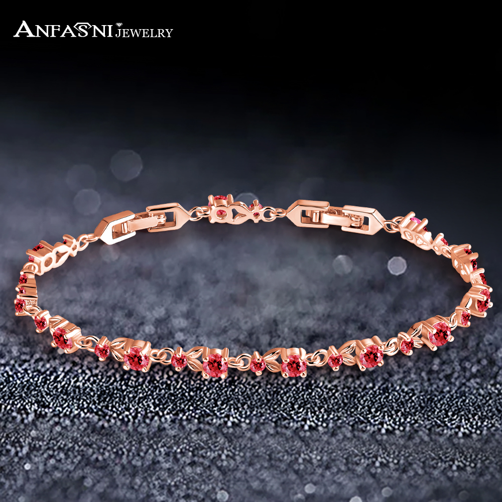 ANFASNI Fashion High Quality Rose Gold Color Chain Link Bracelet With Top AAA Cubic Zircon Stone For Women Ladies Luxury Jewelry