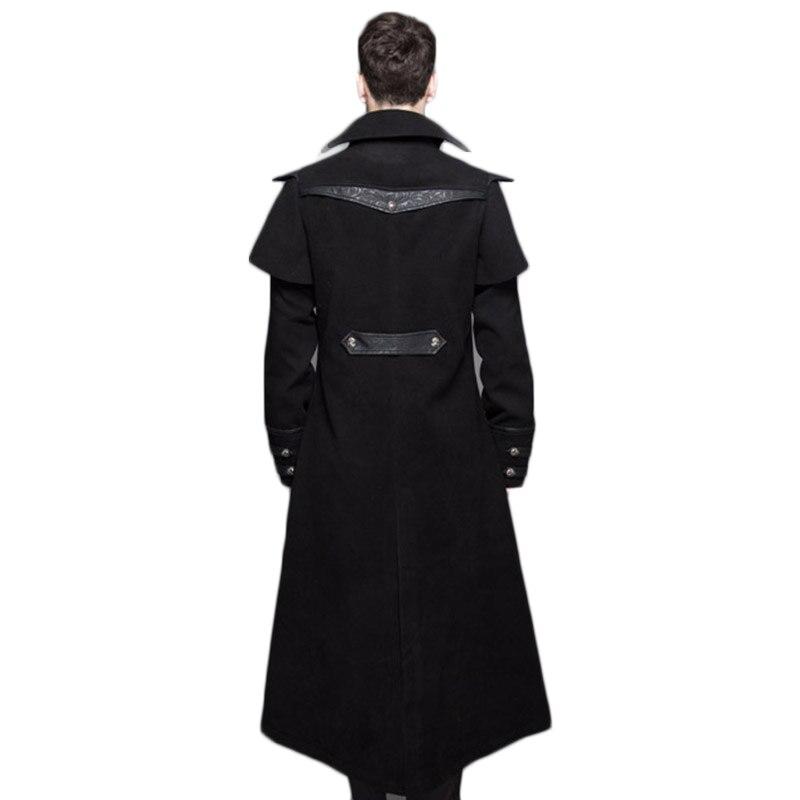 À Veste D'hiver Punk Hommes vent Pour Manches Longues Vêtements Long Gothique Coupe Steampunk Couleur Noir Homme Manteau Black De R5Aj3L4