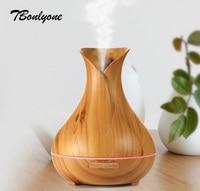 TBonlyone 400ML Vase Diffuser Wood Grain Air Humidifier Ultrasonic Essential Oil Diffuser Air Aroma Diffuser For