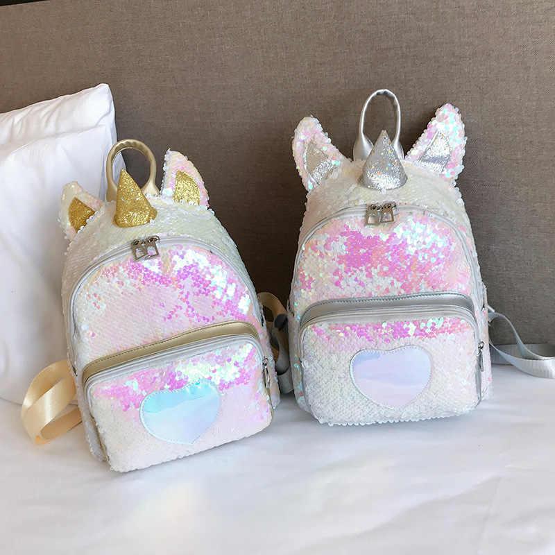 Золотой Серебряный Блестящий рюкзак с единорогом, модная блестящая школьная сумка для книг, милая голограмма, лазерная искусственная кожа, дорожная сумка Mochila