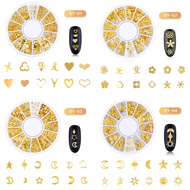 3D Nail Art Alloy Decoration Silver Golden 12 Grids Nail Decoration Disc Nail Alloy kit Manicure Decoration Metal Rivet NAN in Rhinestones Decorations from Beauty Health