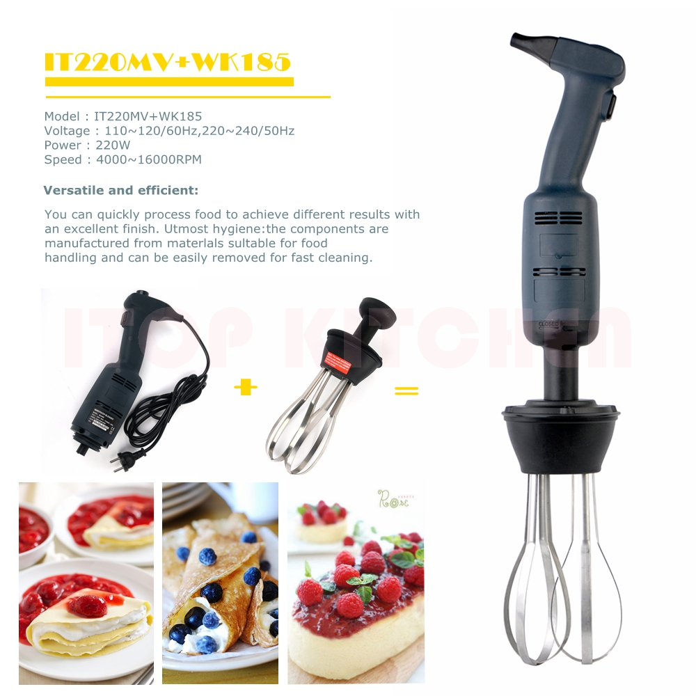 ITOP 220W Blender with 160mm Sticker / 185mm Whisk Infinitely Variable Speed 4000~16000RPM Immersion Food Mixer