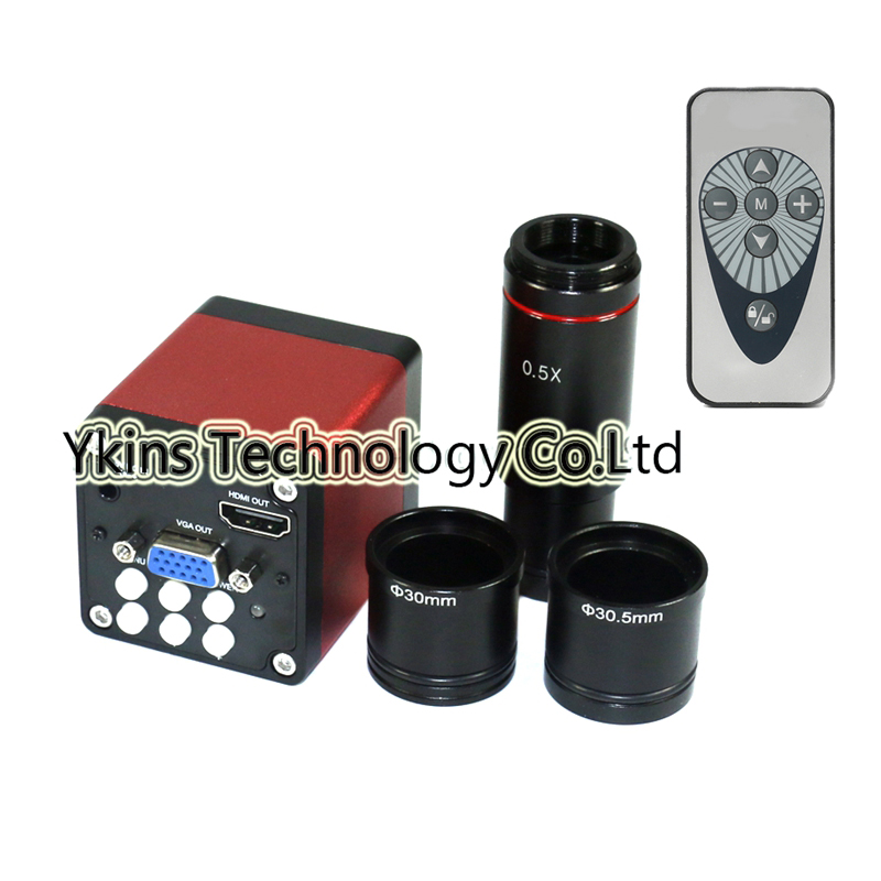 HD 720p CMOS HDMI VGA Digital Electron Microscope Camera Kit + CCD 0.5x Eyepiece for Binocular Trinocular Stereo Microscope stereo microscope 0 4x microscope c cmount adapter for ccd camera digital eyepiece