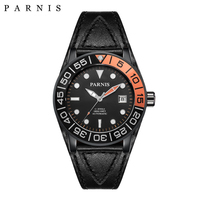 Parnis Männer der Menchanical Uhren Kalender Luminous Mark Sapphire Leder 100m Wasserdichte Sport Militärische Automatische Uhr Männer