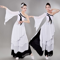 Tops+pants Women Chinese Classical National Dance Costume Female white Yangko Stage Dance Wear Chinese Folk Costume