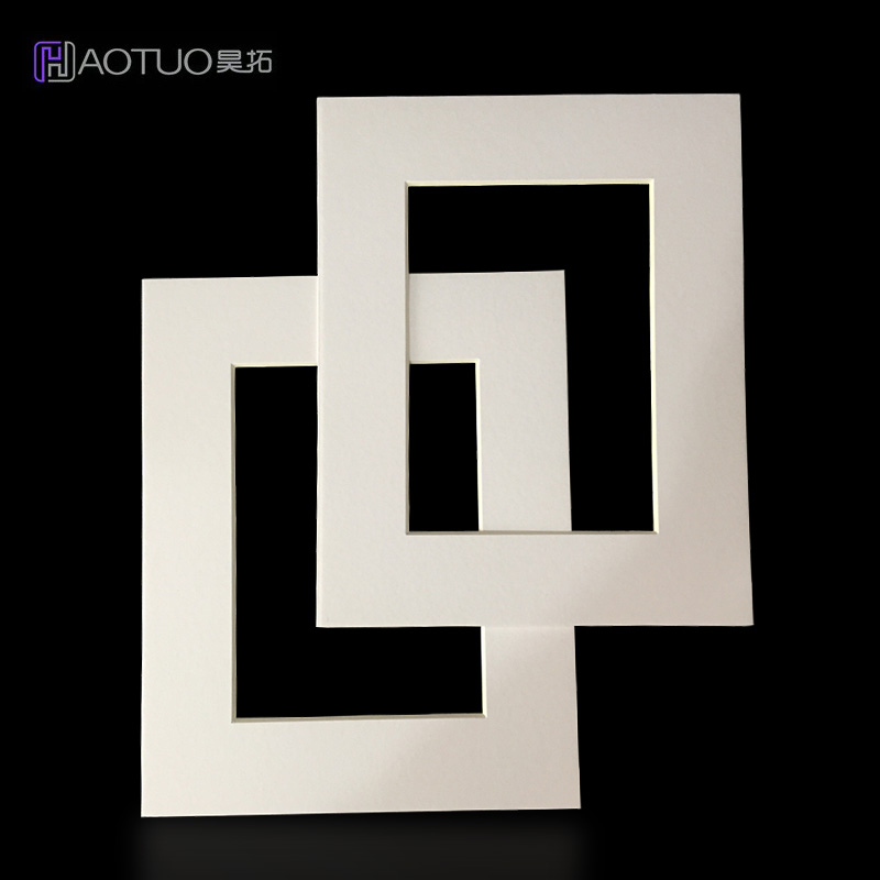 White Photo Mats 45 Degree Bevel Cut Cardboard Frame for 5x7 inch Pictures Poster Acid Free Paper Wall Hanging Photo Frame 5Pcs
