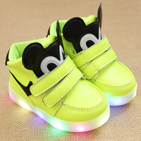 Children Shoes With Light Led Spring Autumn Winter New Cartoon Girls Shoes Sports Breathable Boys Led