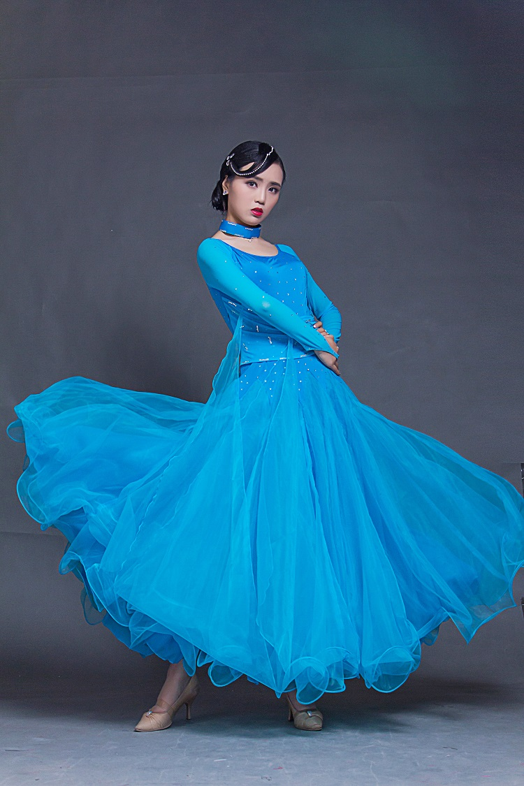 Picture of 7 Colors Big Swing Ballroom Dance Dresses Standard Ballroom Dancing Clothes Competition Standard Dance Dress Waltz Tango Dress