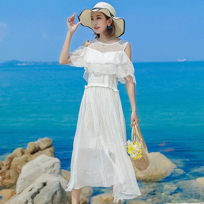 Robe en soie 2019 printemps été femmes longue décontracté sexy en mousseline de soie robes de plage bohème plus grande taille boho blanc sans bretelles mode - 2