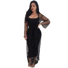 купить Women Sexy Two Piece Set Dress Spaghetti Strap Backless Bandage Bodycon Dress Autumn Elegant Long Sleeve Black Mesh Maxi Dresses по цене 1158.93 рублей