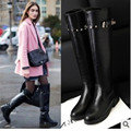 Ladies fashion big size(4 to 9)sexy Sequined Motorcycle boots round toe long knee-high boot winter boot high heel boots 2colors