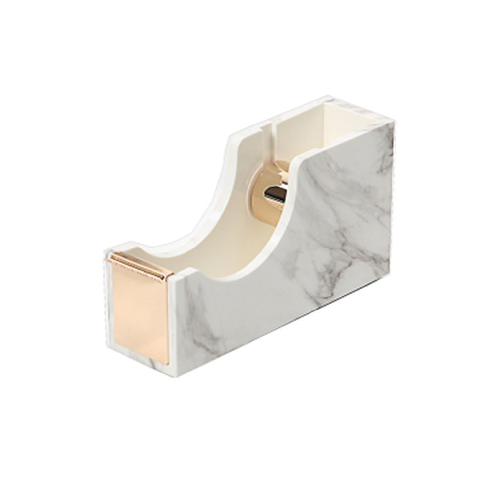 White Marble Texture Desktop Adhesive Tape Dispenser Gold Tone 1 Metal Core Tape Holder for Office School Supplies rose gold desktop tape dispenser wire metal tape holder for 1 inch core brighten up your office desk top accessories supplies