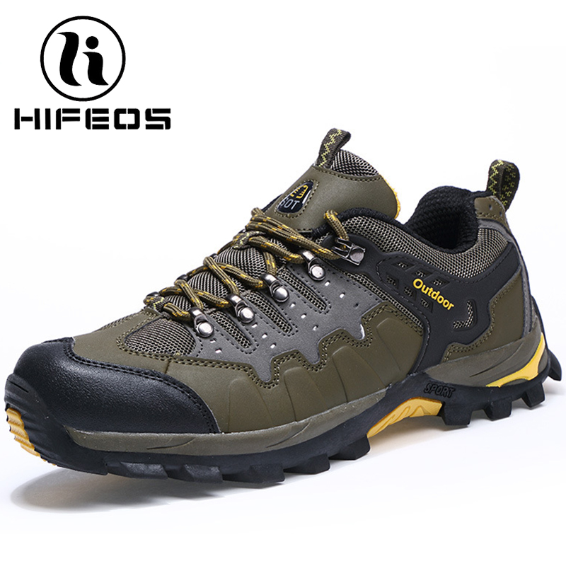 HIFEOS winter hiking shoes touring explosion wear-resistant men's sneakers anti-slip outdoor boots wedges lace waterproof M043 yin qi shi man winter outdoor shoes hiking camping trip high top hiking boots cow leather durable female plush warm outdoor boot