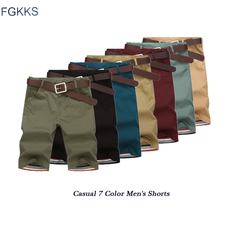 FGKKS Quality Brand Casual Shorts Men 2020 Summer Men's Fashion Solid Color Knee Length Comfortable Shorts Male Casual Short