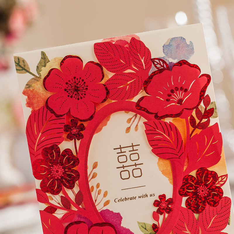 Asian Themed Red Color Wedding Invitation Card Laser Cut With Ribbon