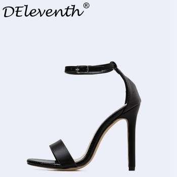 Sexy PU Woman Sandals Thin High Heels 10cm Gladiator Buckle Strappy Open Toe Concise Fashion Summer Ladies Party Femme Shoes US5 high heels