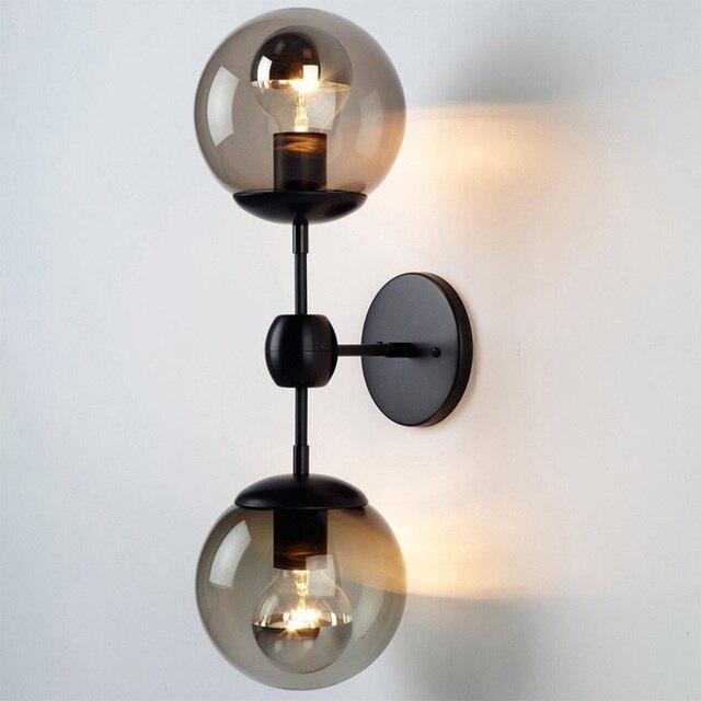 Neue Moderne Modo Glaskugel Wandleuchte 2/3 Köpfe Wandleuchte Eisen Metall  Wand Licht Für Schlafzimmer
