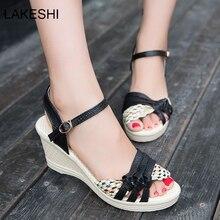 LAKESHI Tacones Sandalias de Las Mujeres Dulces Mujeres Sandalias De Cuña Zapatos de Verano Sandalias de la Plataforma