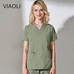 Nieuwe medische chirurgische pak, zomer ademend katoen chirurgische pak verpleging uniform scrubs chirurgie set vrouwen schoonheid en gezondheid