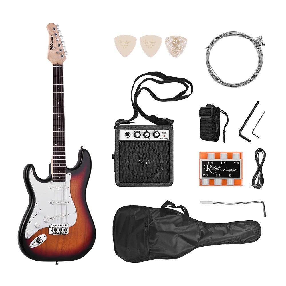 Ammoon guitare électrique 21 frettes 6 cordes Paulownia corps érable cou bois massif avec haut-parleur Pitch Pipe sac de guitare sangle à droite