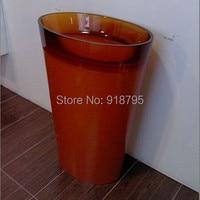 RESIN ACRYLIC BATHROOM FREESTANDING PEDESTAL WASH BASIN CLOAKROOM VANITY COLORED HAND SINK RS38281