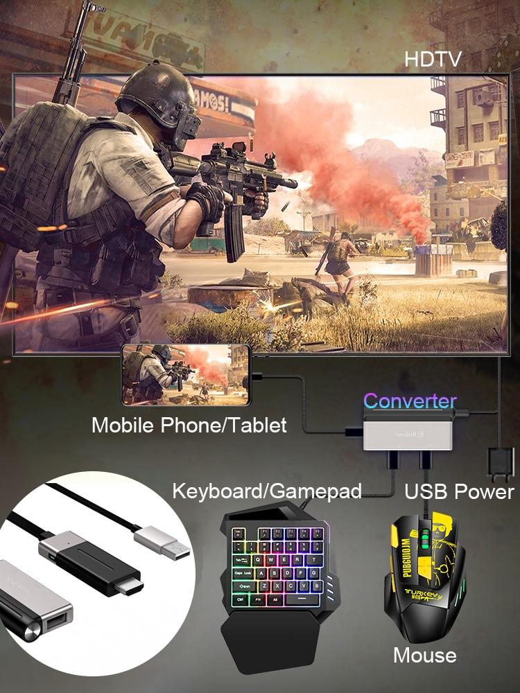 Contrôleur de manette de jeu Mobile souris clavier convertisseur adaptateur Bluetooth X9 téléphone vers PC HDMI 4K @ 60 hz extenseur pour TV hd