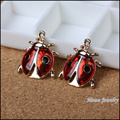25pcs UV gold plated red enamel floating charms ladybug  pendant  fit for necklaces & pendants jewelry findings JC760