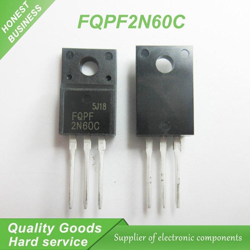 10 stücke FQPF2N60C 2N60C 2N60 600V 2A MOSFET N-Kanal transistor TO-220F neue original