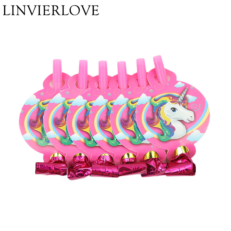 6PCSset Catroon Unicorn Theme Plastic Blowout For Kids Boys Girls Birthday Blowing Dragon Noise Maker  Party Decor Supplies