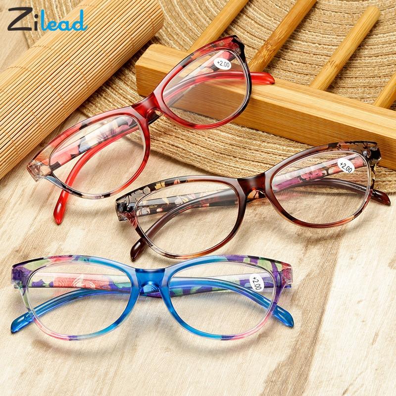 Zilead Cat Eye Women Reading Glasses Mens Resin Anti Fatigue Reading-glasse Presbyopic Women's Glasses Transparent Spectacles