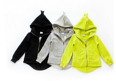 In the spring and autumn and winter Private lovely dinosaur fleece hooded jacket