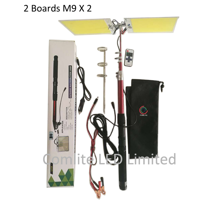 Telescopic Fishing Pole 224pcs LEDs Boards X 2 COB LED Panel Light 200W 96W Top Brightness 5 Meters Pole