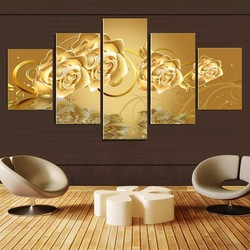 5 Panels(No Frame) Golden Rose Flower Painting Modern Home Wall Decor Room Canvas Art HD Print Painting Canvas Art Picture