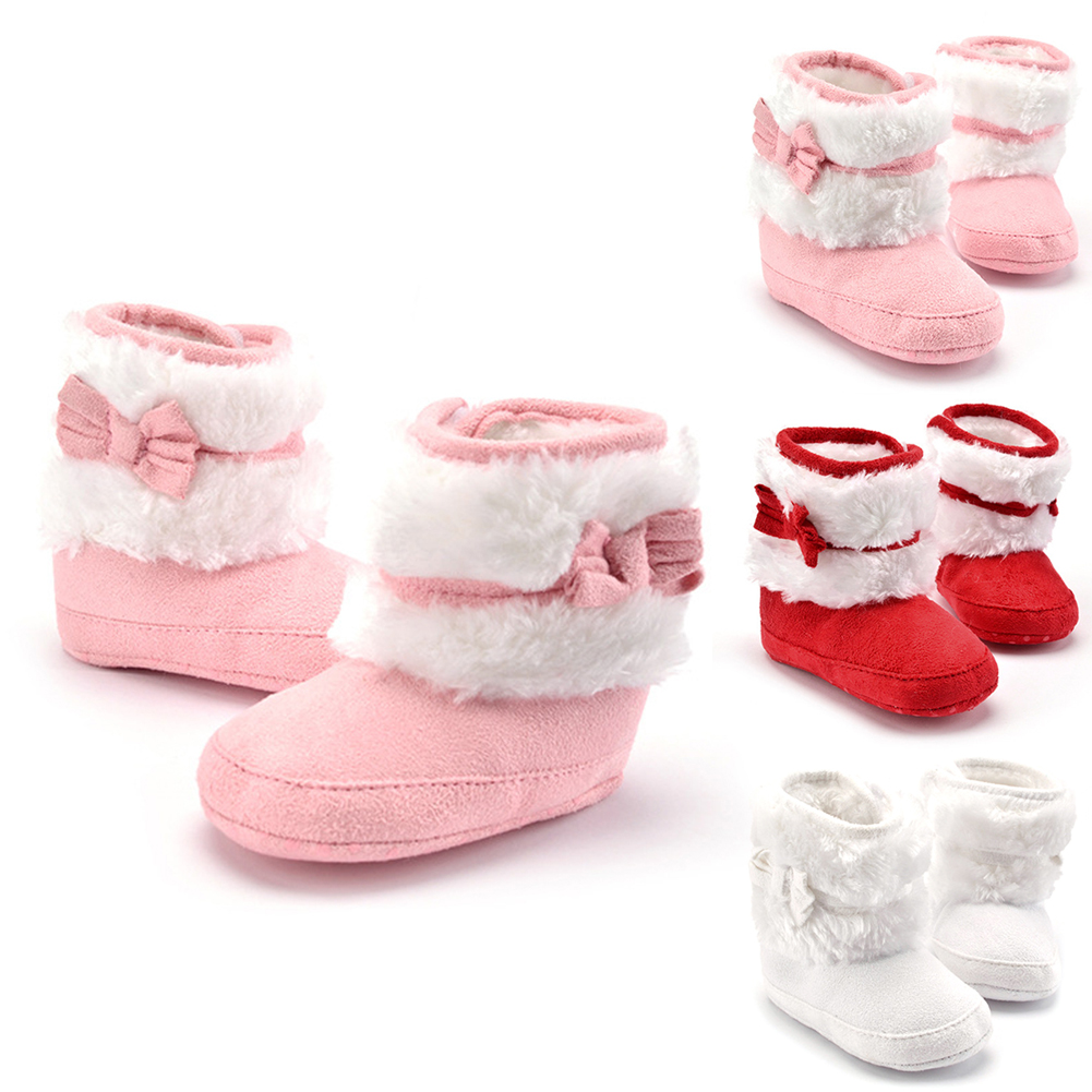 Hot Sale Newborn Baby Girls Winter Snow Fleece Boots Infant Solid Bowknot Shoes Prewalker For 0-18M Baby