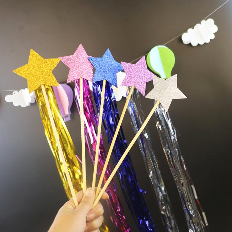 2Pcs Five Pointed Fairy Magic Wand Star Stick Princess