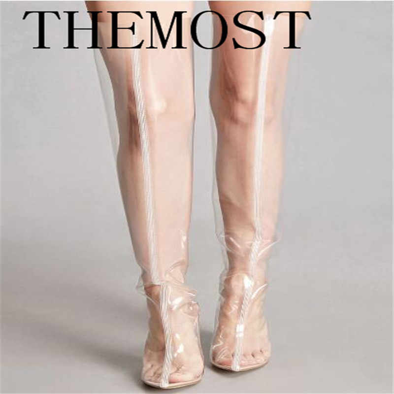 02fb75ad11 THEMOST Stylish Chyna Perspex Long Boots Clear Peep Toes Transparent PVC  Over Knee Boots Women Tight