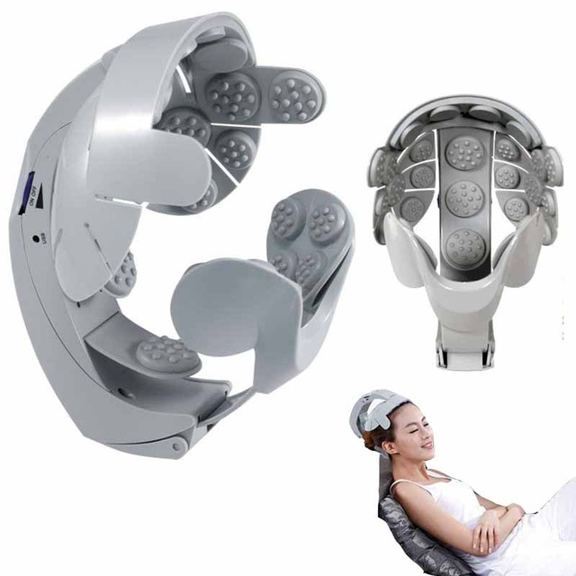Electric Head Massager Helmet Scalp Brain Relax Vibration Acupuncture Points Health Care