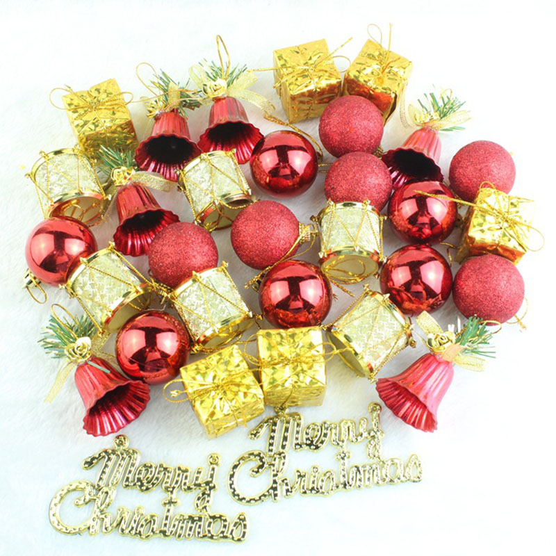 32pcs Lot Christmas Tree Hanging Baubles Fruit Ball Red Gold