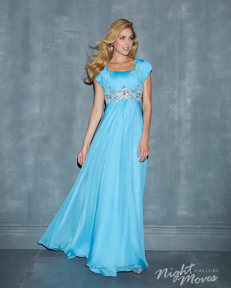 Long Modest Prom Dresses floor length chiffon gowns cap sleeves and ...