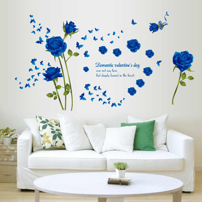 75af9d830 ... %Vinyl Romantic Rose Flower Love 3d Wall Sticker Home Decor Living Room  Bedroom kitchen butterfly ...