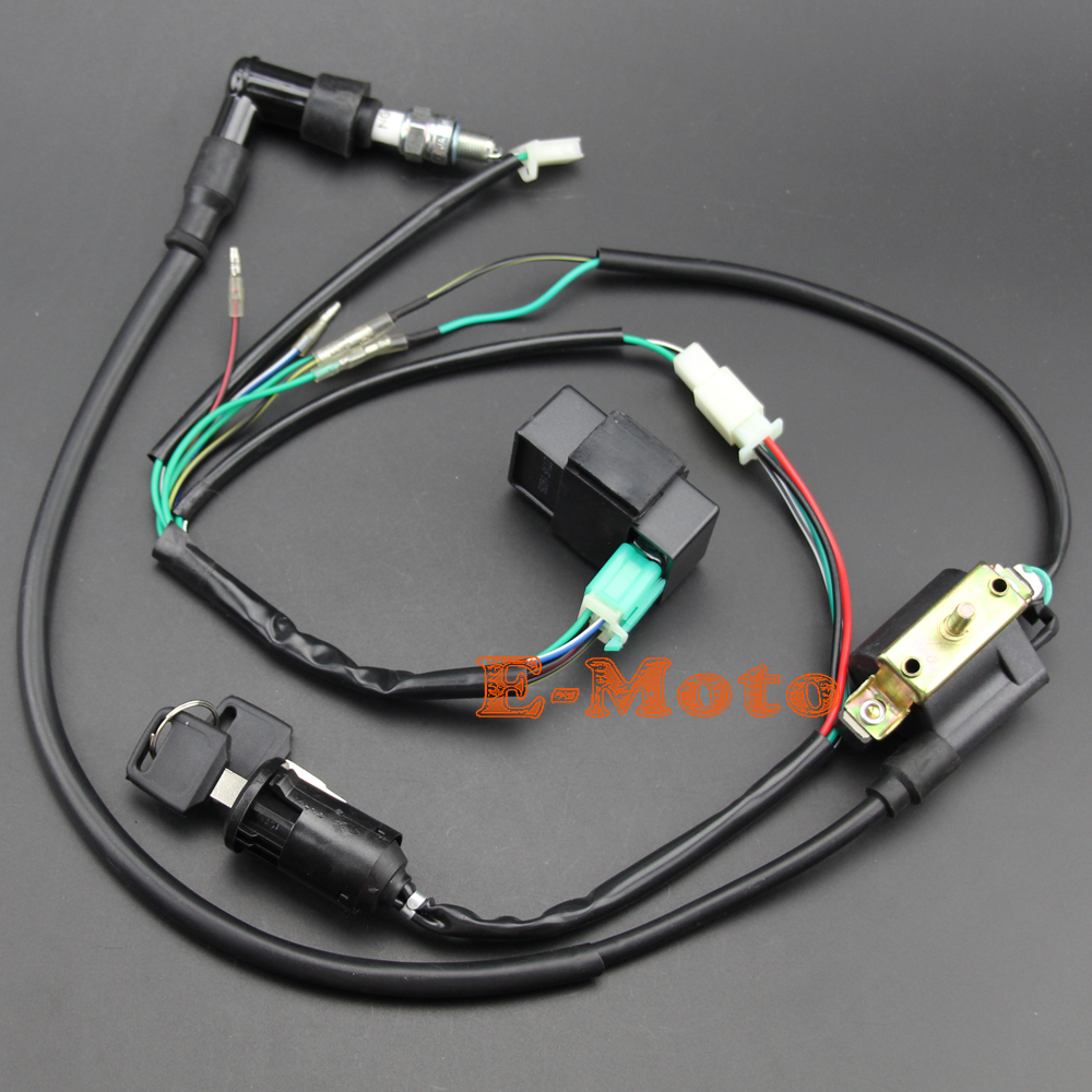 hight resolution of ignition coil cdi spark plug electric wiring harness set for 50cc 70cc 90cc 110cc 125cc atv