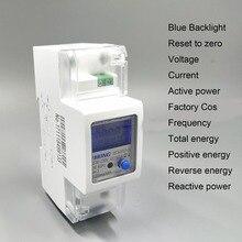 65A 100A 220V 230V 50HZ 60HZ voltage current Positive reverse active reactive power Single phase Din rail Watt hour energy meter