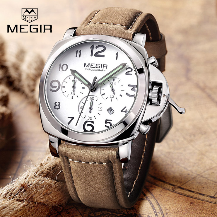 цены  2017 New MEGIR Luxury Brand Quartz Watches Men analog chronograph Clock Men Sports Military Leather Strap Fashion Wrist Watch