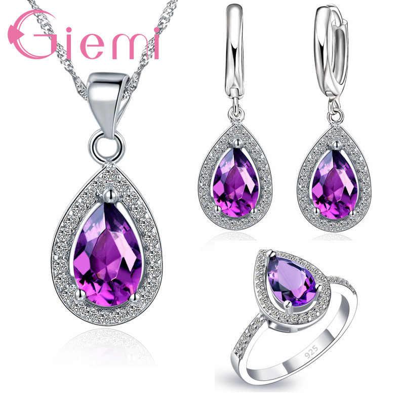 Romantische Klassische Wasser Tropfen Form Anhänger Halskette Finger Ringe 925 Sterling Silber Schmuck Sets CZ Stein Für Frauen