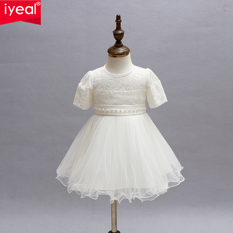 IYEAL Newest Baby Girl Princess 1 Year Birthday Party Dress Toddler Infant Ivory Red Formal Christening Dresses