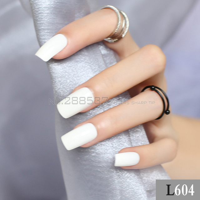 New Ivory white color long sectionsquare head false nails 24pcs New ...