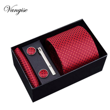 Vangise Brand New Male Tie Set Necktie Polyester Handmade Classic Dress Necktie Set Gift Box Packing red Dots Free Shipping