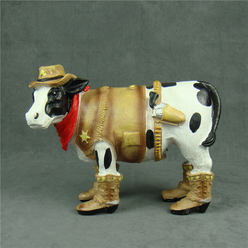 Funny Milk Cow Police Officer Sculpture American Western Cowboy Statue Gift and Craft Ornament for Bakery