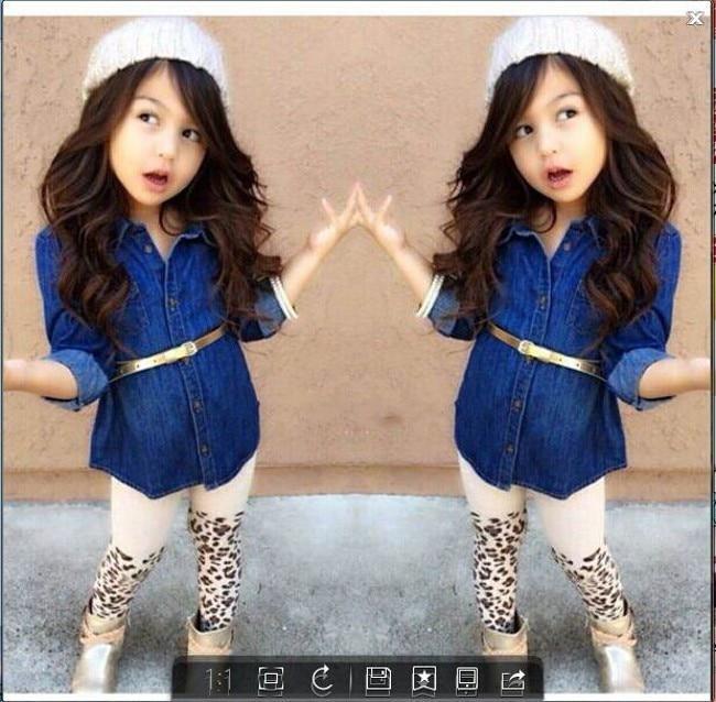 все цены на  EMS DHL Free shipping baby girls toddlers 3pc Suit Denim dress Leopard Pants Belt children clothes Cool Girls Suit Casual Wear  онлайн