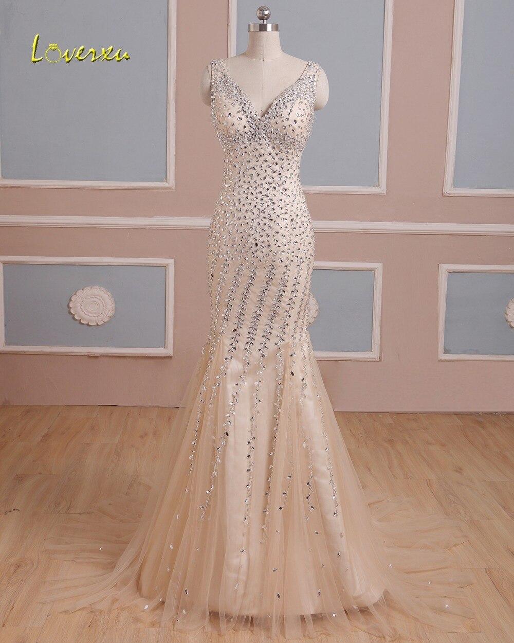 Loverxu romantique chérie dos nu sirène Robe De soirée 2019 luxe perlé cristal formelle Robe De soirée Robe De soirée offre spéciale